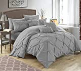 Purple and Silver Bedding Sets Chic Home 10 Piece Hannah Pinch Pleated, ruffled and pleated complete Queen Bed In a Bag Comforter Set Silver With sheet set