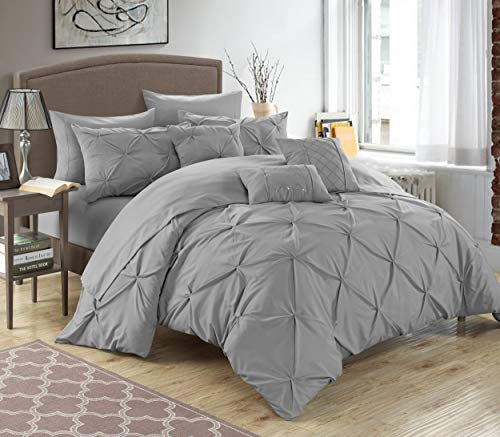 Chic Home 10 Piece Hannah Pinch Pleated, ruffled and pleated complete Queen Bed In a Bag Comforter Set Silver With sheet set (A Brushed Cotton Bag In Bed)