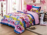 JORGE'S HOME FASHION LIMITED EDITION WINTER COLLECTION BUTTERFLY GIRLS BLANKET WITH SHERPA VERY SOFTY THICK AND WARM 3 PCS TWIN SIZE