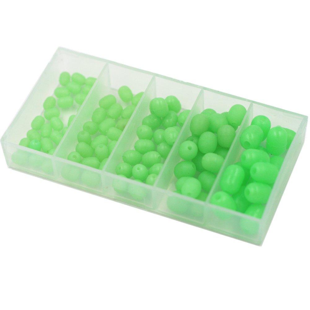 Mimilure Luminous Glow Fishing Beads Soft Plastic Oval Shaped Beads Fishing Tackle Tools Eggs,5 Size(100pcs)