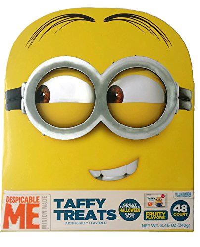Despicable Me Minion Made Taffy Treats 48 ct - 6 Fruity Flavors - Cherry, Strawberry, Sour Apple, Blue Rasberry, Banana, and Mystery Flavor