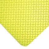 Durable Vinyl Diamond-Dek Sponge Industrial Anti-Fatigue Floor Mat, 3' x 5', High Visibility Yellow
