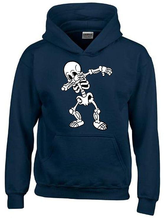Dabbing Skelett schwarz oder dunkelblau Hoodie Sweatshirt mit Kapuze oder T-Shirt Gr. 116 128 140 152 164 cm
