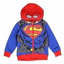 Superman Toddler Boy's Blue/Red Spiderman Suit Masked Full Zip Hoodie - 2T