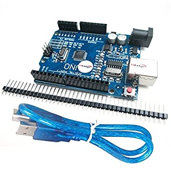 HiLetgo UNO R3 ATmega328P CH340 Development Board Arduino UNO R3 Compatible Arduino IDE Develope Kit Microcontroller with USB Cable Straight Pin Header 2.54mm Pitch Robot Parts