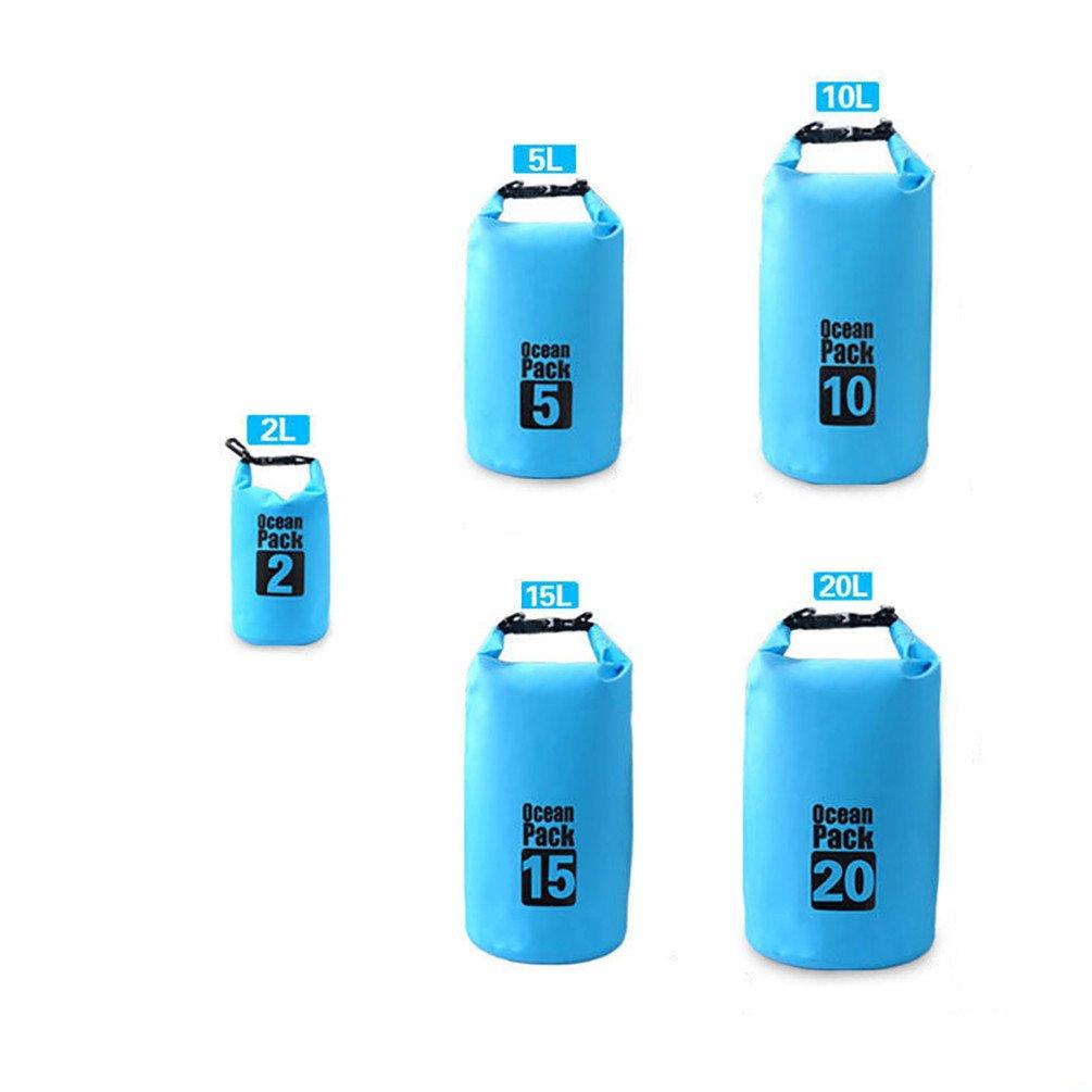bjduck99 1 pc 2 / 5 / 10 / 15 / 20l防水ドライバッグアウトドアスポーツバックパックカヤックフローティング B0788NRD8C 2L|ブルー ブルー 2L