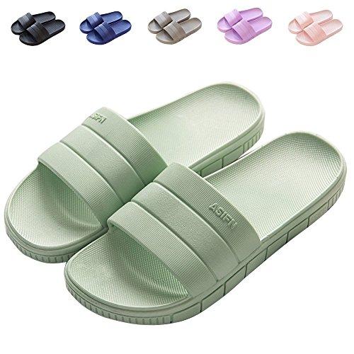 Minetom® Women Men Slip On Slippers Unisex Non-Slip Shower Sandals House Mule Soft Sole Bathroom Water Pool Shoes Indoor Outdoor Flip Flop A Green (Women) sSCY26d