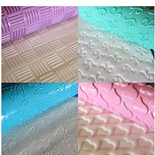 Cake Decorating Embossed Rolling Pins,Textured Non-Stick Designs and Patterned,Ideal for Fondant,Pie Crust,Cookie,Pastry,Icing,Clay,Dough - Best Kit 8 Pcs