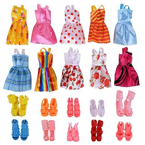 (Doll Clothes and Shoes, 10 Pack Fashion Doll Clothes Wedding Party Gown Outfits with 10 Pairs Doll Shoes for Girl's Birthday)