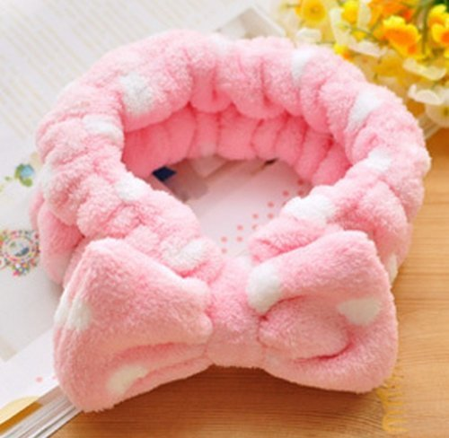 Women Fashion Cute Pink Heart Bowknot Bow Makeup Cosmetic Shower Elastic Hair Band Hairlace Headband [Pink Dot] by exo.nu