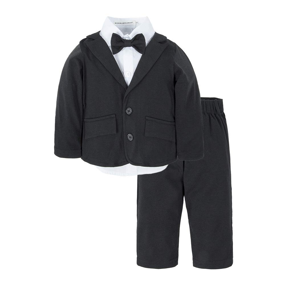 BIG ELEPHANT Baby Boys Tuxedo Suit Formal Party Set Wedding Outfit E16 Size 100 (18-24 Months) by BIG ELEPHANT