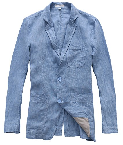 utcoco Men's Casual Lapel Lightweight Two-Button Linen Suit Blazer (X-Small, Blue)