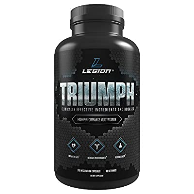 Legion Triumph Daily Multivitamin Supplement for Men & Women - Best Vitamins and Minerals for Anxiety, Depression, Stress, Immune System, Heart Health, Energy, Sports & Bodybuilding Workouts. 30 Svgs.