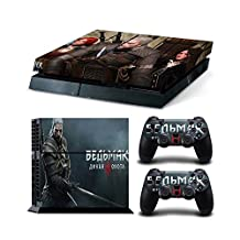 Sony PlayStation 4 Skin Decal Sticker Set - The Witcher 3: Wild Hunt (1 Console Sticker + 2 Controller Stickers)