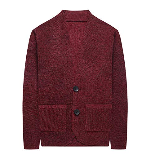 Large Slim Red Size Open Coat Da Cardigan Maglioncino Uomo Easy Sweater Go Manica Lunga Shopping 6qFnRXw4xv
