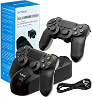 PS4 Controller Charger Charging Station,Dual Shock 4 Controller Charger Playstation 4 Twin Charge Docking Station Sony PS4/PS4 Pro/PS4 Slim Controller - Black