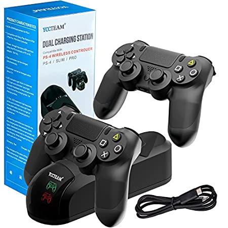 PS4 Controller Charger Charging Station,Dual Shock 4 Controller Charger Playstation 4 Twin Charge Docking Station for Sony PS4/PS4 Pro/PS4 Slim Controller - Black