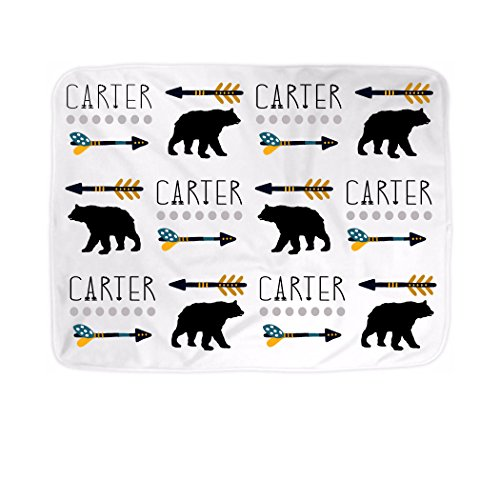 (Custom Baby Name Tribal Arrow Bear Blanket (Boy Scheme))
