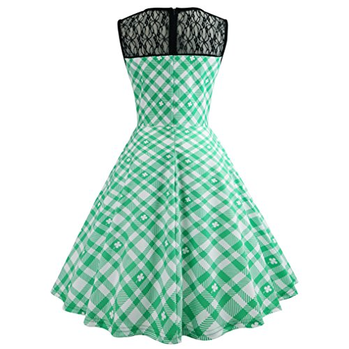 Jupe Rockabilly Robes WhiteGreen Robe Jupon de Vintage Cocktail Pliante 50s rq1wqZI