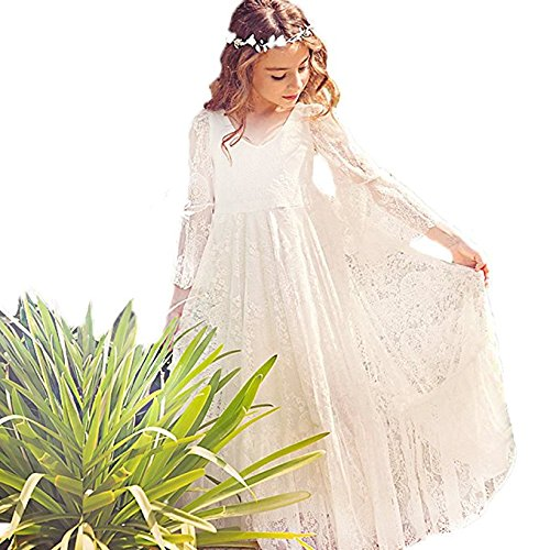 CQDY White Flower Girl Lace Dress Long Sleeves Children Baptism Dress First Communion Dress for 2-13T (14-15Y (160CM Height))