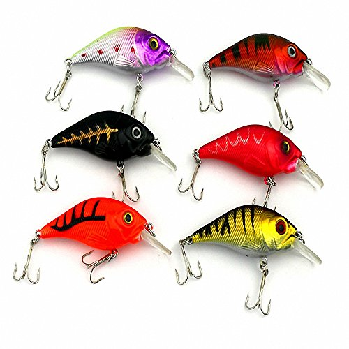 Maoko 6pcs Crankbaits Lures for Bass Trout Floating Topwater 2.96in/0.26oz (15' Float Rod)