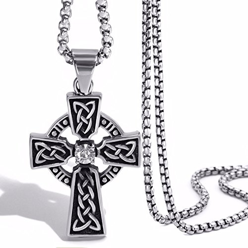 Elfasio Jewelry Stainless Steel Celtic Cross Pendant Necklace Mens Boys Chain (Quality Stainless Steel Pendant)