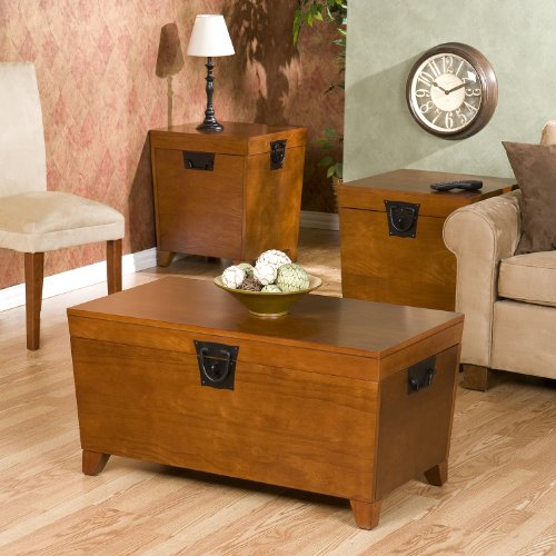 Pyramid Cocktail Trunk Set - Pyramid Trunk Table Collection , 1 Coffee Table , 2 End Tables Set , Oak