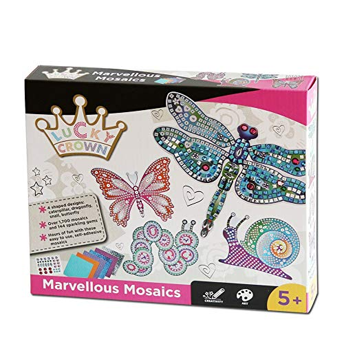LUCKY CROWN Mosaic Sticker Art Craft Kits for Kids Shimmer and Shine Sparkle Mosaics
