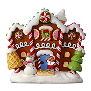 Hallmark Keepsake 2017 Naughty or Nice? Meter Sound and Light Christmas Ornament Crazy Gingerbread House Multicolor