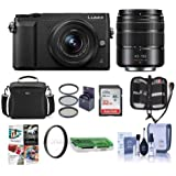 Panasonic Lumix DMC-GX85 Mirrorless Camera Black with Lumix G Vario 12-32mm f/3.5-5.6 & 45-150mm F4.0-5.6 Lenses - Bundle With Camera Case, 32GB SDHC Card, 52mm Filter Kit, PC Software, And More