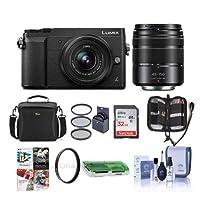 Panasonic Lumix DMC-GX85 Mirrorless Camera Black Lumix G Vario 12-32mm f/3.5-5.6 & 45-150mm F4.0-5.6 Lenses - Bundle Camera Case, 32GB SDHC Card, 52mm Filter Kit, PC Software More