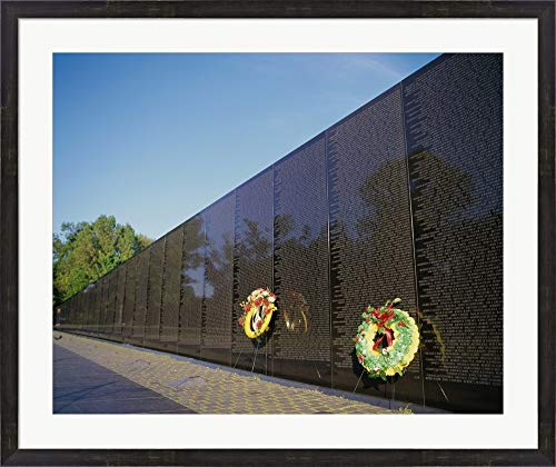 (Wreaths on The Vietnam Veterans Memorial Wall, Vietnam Veterans Memorial, Washington, D.C, USA Framed Art Print Wall Picture, Espresso Brown Frame, 38 x 32 inches)