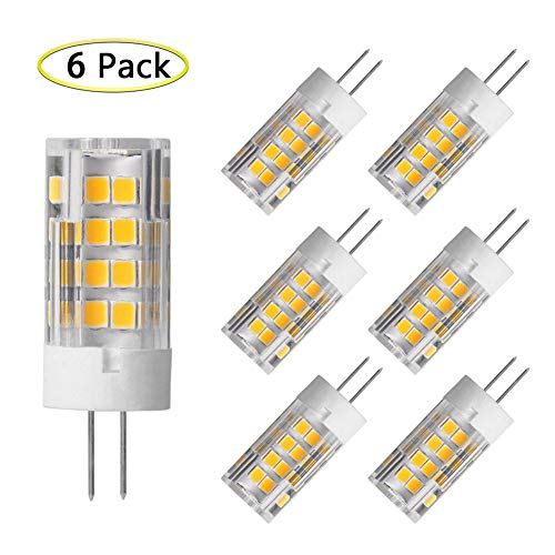 G4 LED Bulbs 5W Equivalent to 40W T3 JC Type G4 Halogen Bulb Bi-Pin G4 Base AC/DC 12V Warm White 3000K G4 LED Light Bulb Not-Dimmable (6 Pack) ()