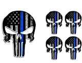 sniper decal - 5 Pack THIN BLUE LINE PUNISHER SKULL American Flag Police Officer Blue Lives Matter Sniper Vinyl Decal Stickers Car Truck Sniper Marines Army Navy Military Jeep Graphic