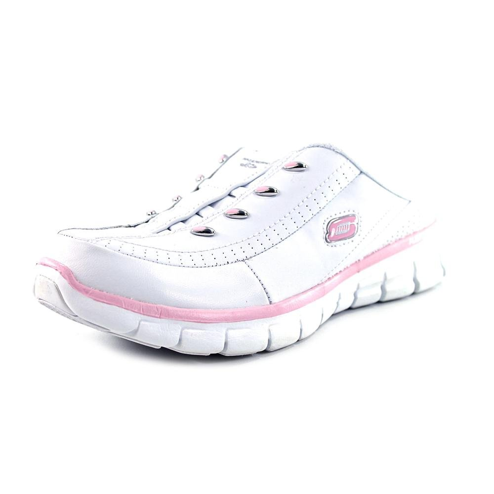 727d8a9302f Skechers Womens Elite Glam Synery Slip On Mule Clog, White/Pink, 8 B(M) US