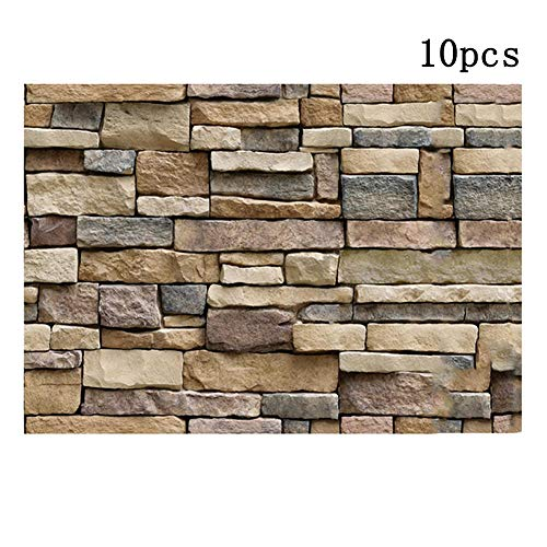 (3D Wallpaper Brick Stone Background Wall Decor, Pack of 10 Self-adhesive Wall Stickers, Simulation Vein Rock Stone Pattern Brick Wall Paper 45x100 cm /17.72x39.37 inch)