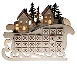 "Clever Creations Wooden Village Sleigh Advent Calendar 24 Day Countdown to Christmas Advent Calendar | Premium Christmas Decor | Light Up Houses Wood Construction | 11.25"" Tall"