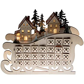 Clever Creations Wooden Village Sleigh Advent Calendar 24 Day Countdown To Christmas Advent Calendar Premium Christmas Decor Light Up Houses Wood