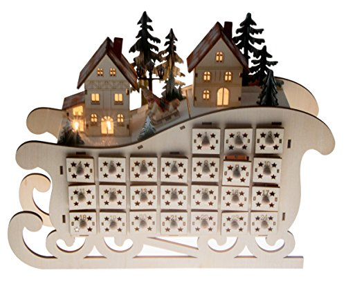 "Wooden Village Sleigh Advent Calendar by Clever Creations | 24 Day Countdown to Christmas Advent Calendar | Premium Christmas Decor | Light Up Houses Wood Construction | 11.25"" Tall"