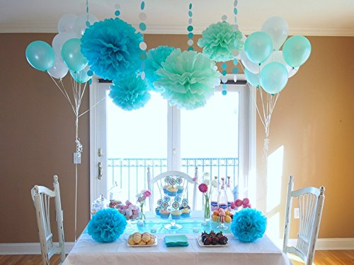 Sogorge Pack of 28 Pcs Mint Green Blue White Tissue Paper Pom Poms with White and Mint Balloon for Baby Shower Party Decorations]()