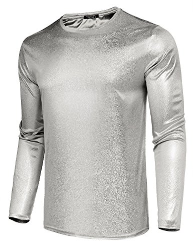 - COOFANDY Men's Nightclub Sequins Shiny Metallic Fashion Long Sleeve T-Shirt