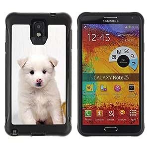 All-Round híbrido Heavy Duty de goma duro caso cubierta protectora Accesorio Generación-II BY RAYDREAMMM - Samsung Galaxy Note 3 - White Puppy Pink Nose Dog Black Eyes