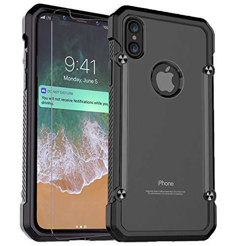 iPhone X Case,PC + TPU Hybrid Ultra-Thin [Wireless Charging] Military Grade Shock Absorption Hybrid Armor Defender Protective Case Cover with Built-in Screen Protector for Apple iPhone X.