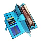 Rfid Blocking Leather Wallet for women Ladies wristlet Clutch,purse organizers(Blue)