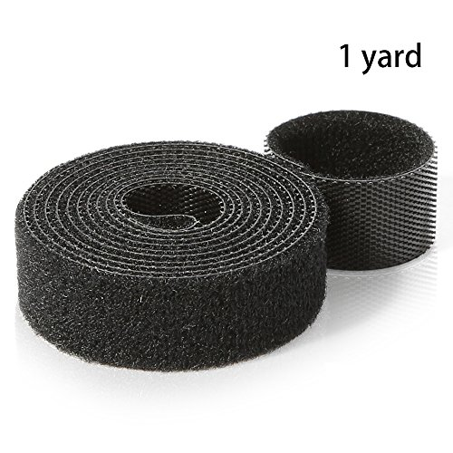 One Yard Rolls - Hexagon Network- Nylon Hook and Loop Tape Strap for Cable Management, Self-Adhesive Cable Ties, Reusable Black Nylon Wire Ties, Hook and Loop Fastener, Self-Gripping Black Cord Wrap, One Roll - 0.6inch Width, 1 yard L