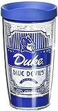 Tervis 1230224 Duke Blue Devils Pregame Prep Tumbler with Wrap and Blue Lid 16oz, Clear