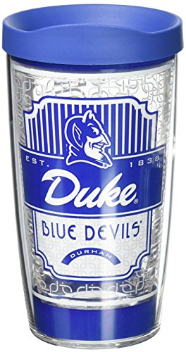 Tervis 1230224 Duke Blue Devils Pregame Prep Tumbler with Wrap and Blue Lid 16oz, Clear