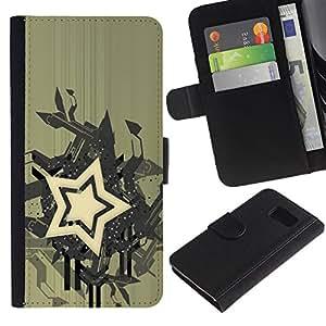 LASTONE PHONE CASE / Lujo Billetera de Cuero Caso del tirón Titular de la tarjeta Flip Carcasa Funda para Samsung Galaxy S6 SM-G920 / Star Abstract Art