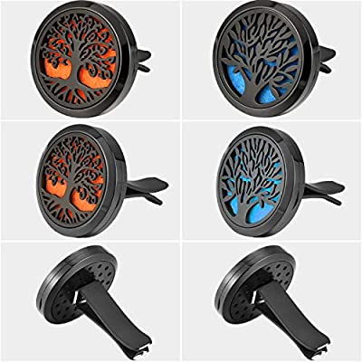 Tatuo 2 Pieces 316L Stainless Steel Car Aromatherapy Essential Oil Diffuser Air Freshener Vent Clip Locket with 48 Pieces Replacement Felt Pad (Tree Patterns) : Beauty