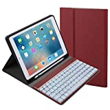 iPad Air Folding Smart Case, iPad Air 2 Bluetooth Keyboard Case, Leather Portfolio Case with Detachable ABS Plastic Keyboard for iPad Air, iPad Air 2